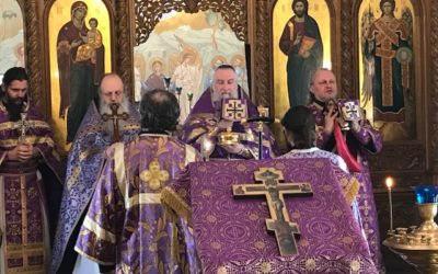 В Коневской обители совершены уставные богослужения Недели Крестопоклонной