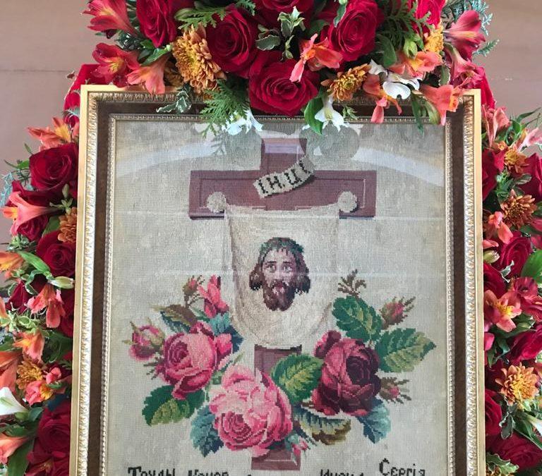 В Пасху Христову к 30-летию возрождения в Коневский монастырь вернулась икона, вытканная насельником обители до исхода братии в 1940 году