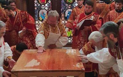 Наместник Коневского монастыря сослужил епископу Выборгскому и Приозерскому Игнатию при Великом освящении Никольского храма в Рощино