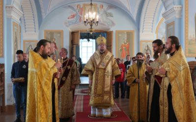 Епископ Выборгский и Приозерский Игнатий совершил Всенощное бдение накануне дня памяти преподобных Сергия и Германа Валаамских и всех Петербургских святых в Коневской обители