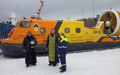 Рождественское богослужение и молебен на освящение судна на воздушной подушке состоялись на Коневском подворье во Владимировке
